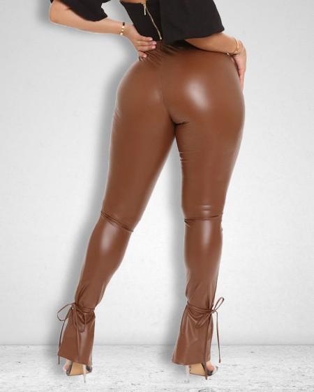 Split Belted Hem PU Leather Skinny Pants