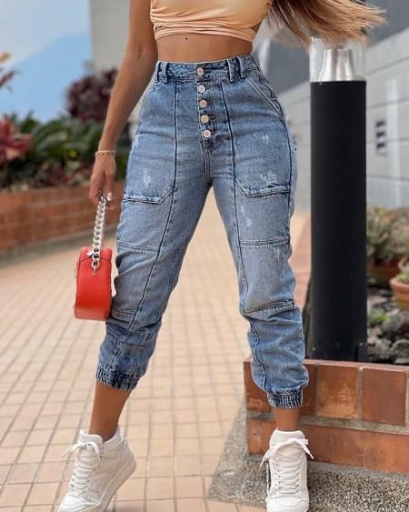 Button Fly Slant Pocket High Waist Skinny Jeans