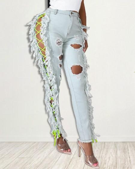 Grommet Eyelet Lace-Up Ripped Fringe Hem Skinny Jeans