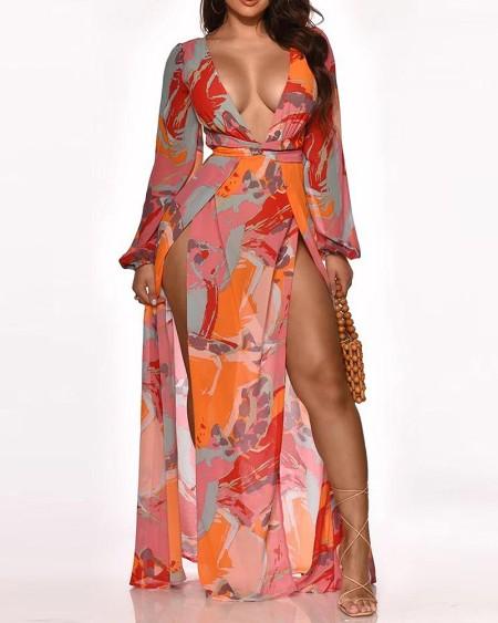 Colorblock High Slit Plunge Lantern Sleeve Maxi Dress