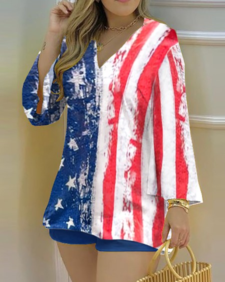 Long Sleeve Flag Pattern Print Top & Shorts Set