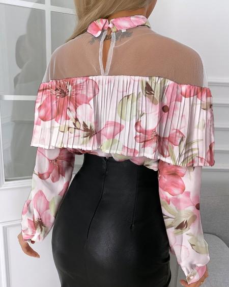 Floral Print Pleated Sheer Mesh Top