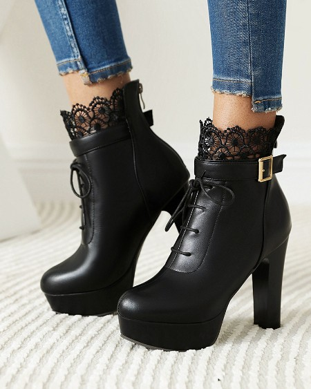 Round Toe Lace Lace-up High Heel Boots