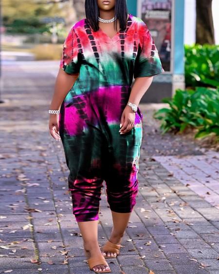 Tie Dye Print Short Sleeve Pocket Design Jumpsuit
