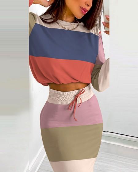 Striped Colorblock Print Long Sleeve Top & Drawstring Shirred Skirt Set