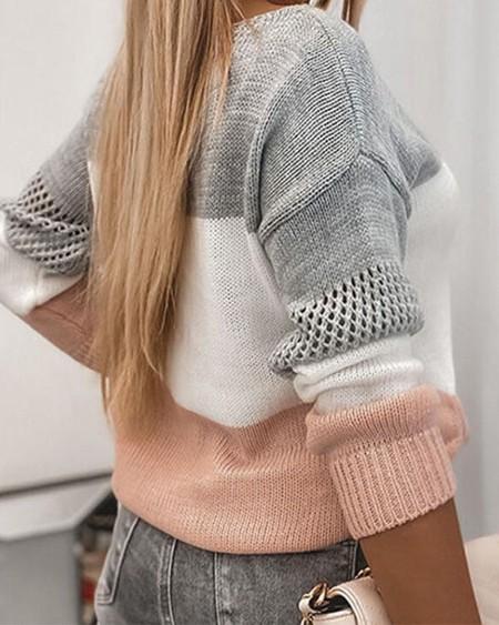 Colorblock Hollow-out Drop Shoulder Sweater