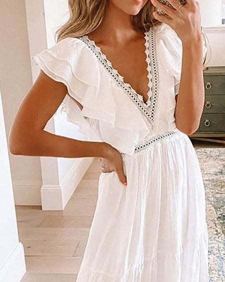 Layered Ruffles Lace Patch Plunge Maxi Dress