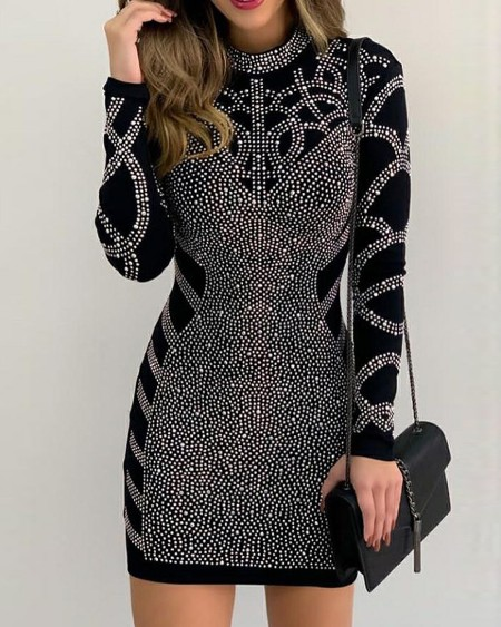 Long Sleeve High Neck Rhinestone Party Dress Slim Fit Bodycon Dress