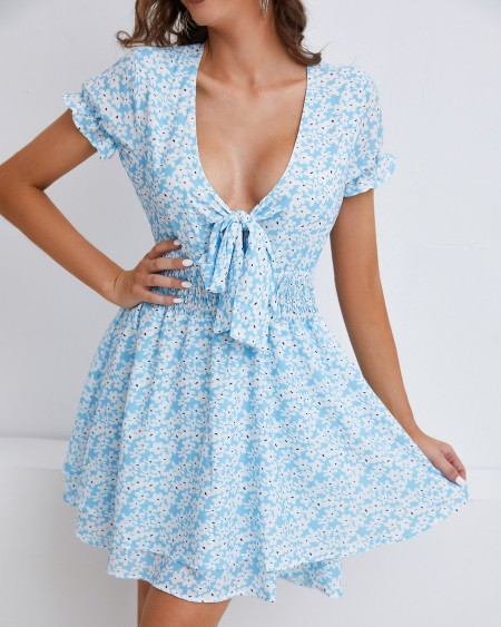 Knotted Layered Ruffles Ditsy Floral Print Dress