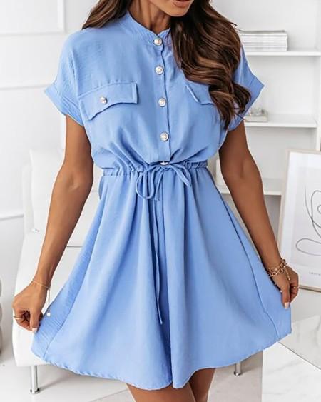 Buttoned Pocket Decor Drawstring Ruched Shirt Dress