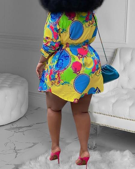 Plus Size Scarf Print Buttoned Shirt Dress