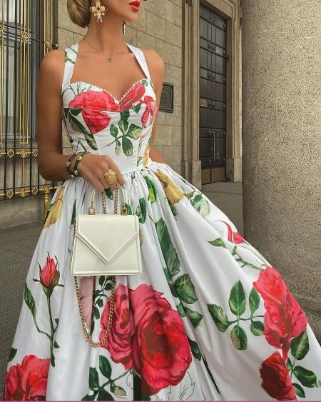 Floral Print Halter Lace Trim Party Dress