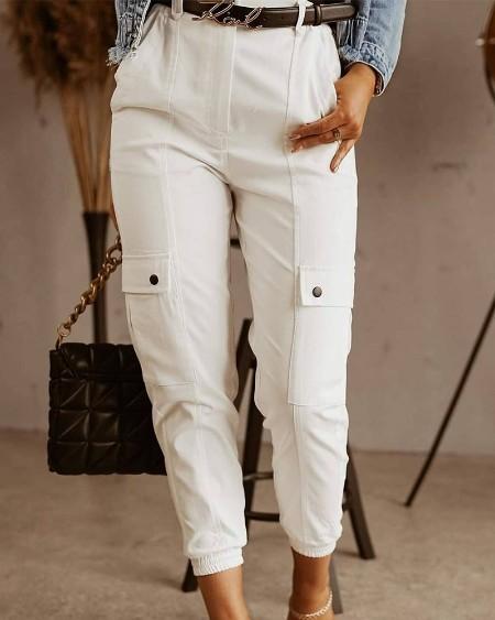 Casual Plain Long Straight Pants