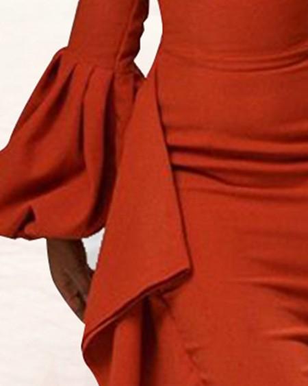 One Shoulder Lantern Sleeve Ruffles Midi Dress