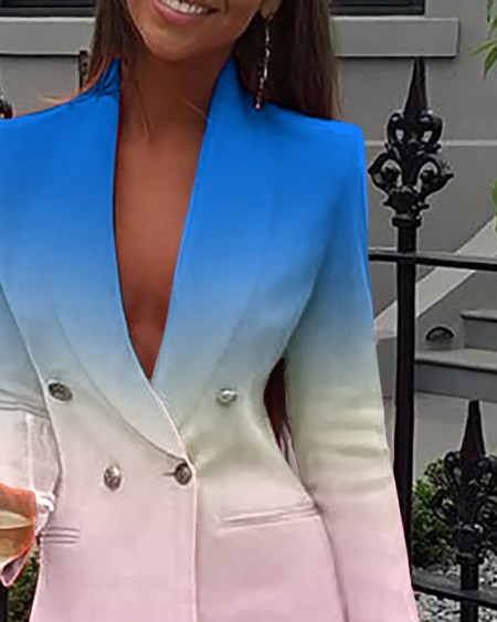 Double Breasted Ombre Colorblock Blazer Dress