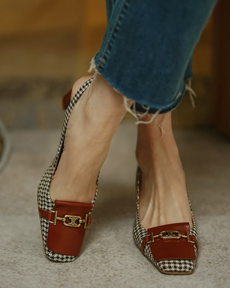Square-toe Houndstooth Print Splicing Buckle PU Leather High Heels