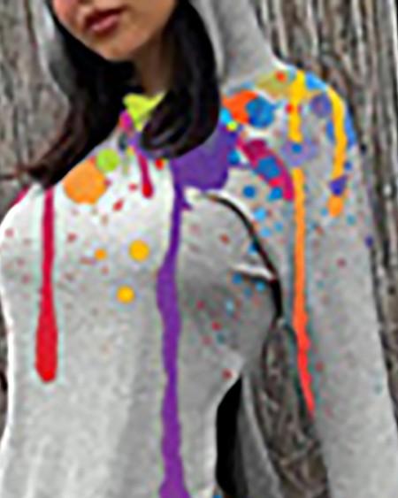 Ink Splash Print Slit Hooded Top & Shorts Set