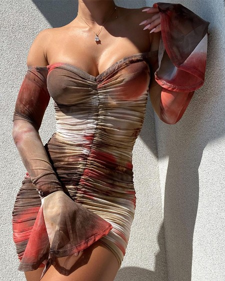 Tie Dye Flared Sleeve Ruched Bodycon Mini Dress