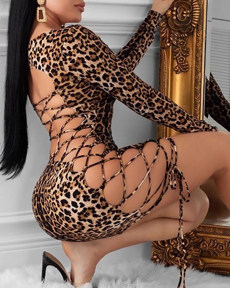 Leopard Print Backless Lace-Up Bodycon Dress