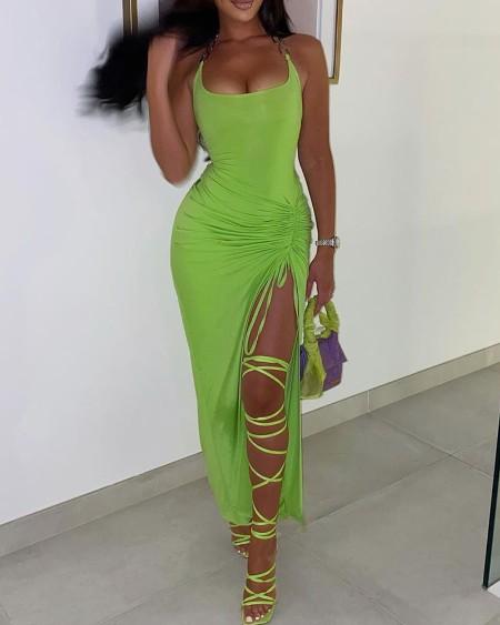 Drawstring Ruched High Slit Midi Dress