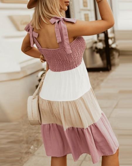 Colorblock Knot Shoulder Ruched Bust Dress