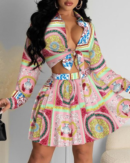 All Over Print Knot Front Crop Top & Pleated Skirt Set