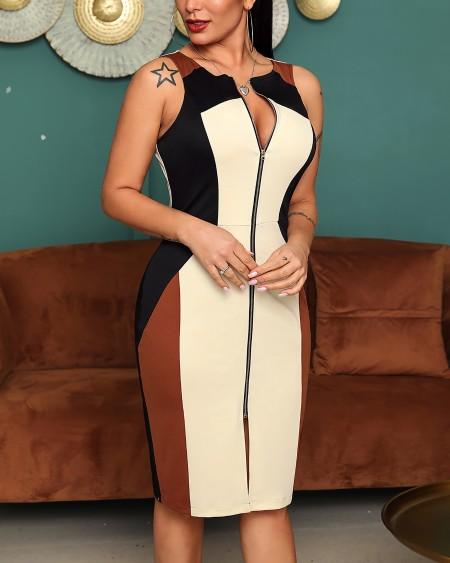 Colorblock Sleeveless Zipper Design Dress