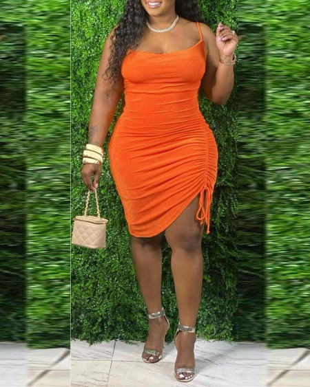 Plus Size Drawstring Ruched Bodycon Dress