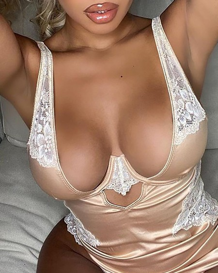 Satin Slit Lace Trim Babydoll