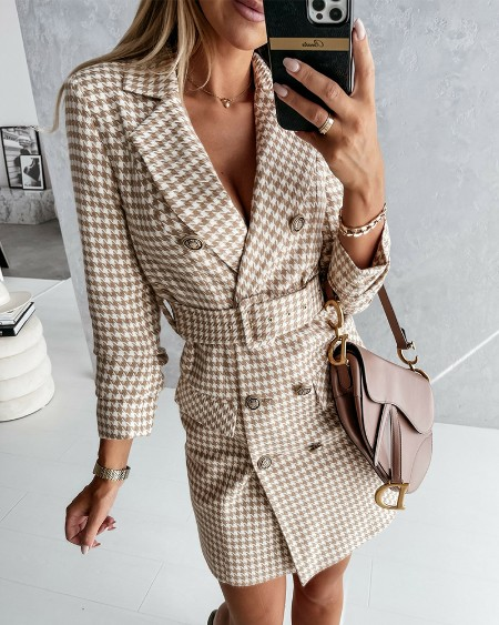 Houndstooth Double Breasted Belted Blazer Dress