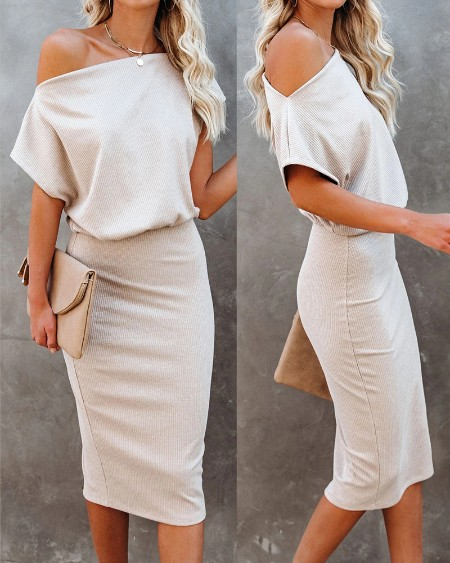Short Sleeve Ruched Plain Casual Dress