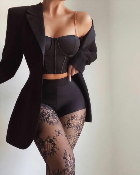 Chain Strap Crop Corset Top & Contrast Lace Skinny Pants Set