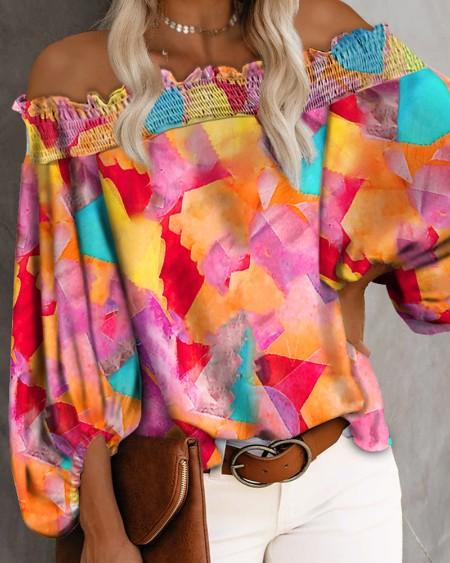 Tie Dye Frill Trim Off Shoulder Lantern Sleeve Blouse