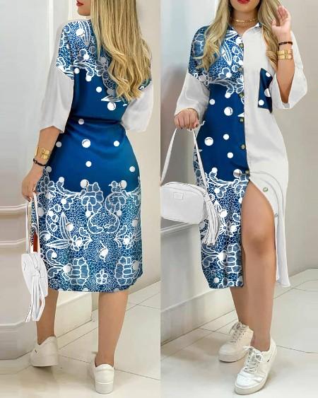 Colorblock Button Design Shirt Dress