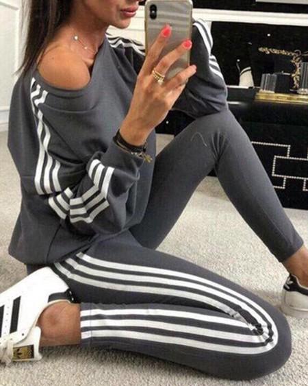 Striped Tape Long Sleeve Top &  Pants Set