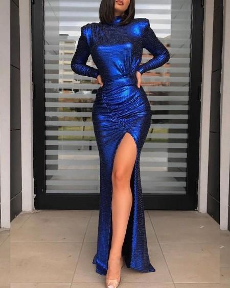 High Slit Padded Shoulder Ruched Party Dress