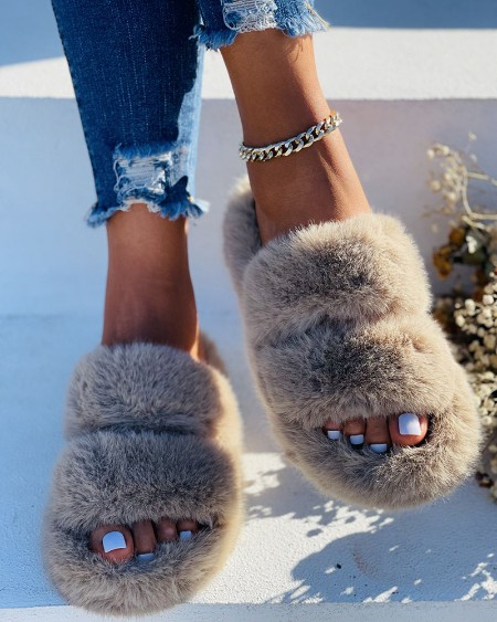 Fluffy Double Band Peep Toe Slippers