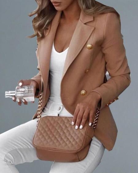 Double Breasted Long Sleeve Blazer Coat