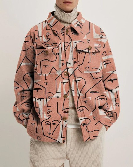 Mens Fashion Art Face All Over Print Long Sleeve Pockets Jacket