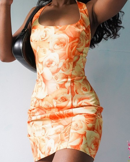 U-neck Floral Print Straight Dress