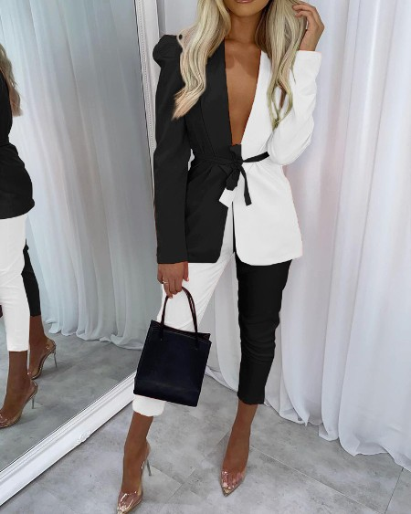Two Piece Sets Colorblock Shawl Collar Tie Front Blazer & Pants Set Elegant Work Suit