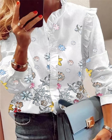 Butterfly Print Button Front Long Sleeve Ruffle Hem Casual Blouse