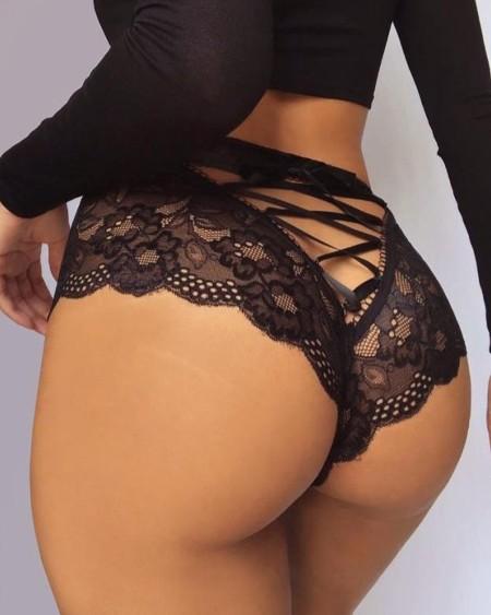 Criss Cross Tie Back Scallop Trim Lace Panties