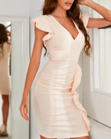 V-Neck Ruffle Hem Ruched Midi Dress