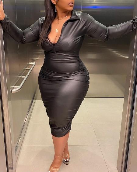 Plus Size PU Collared Zipper Front Ruched Midi Dress