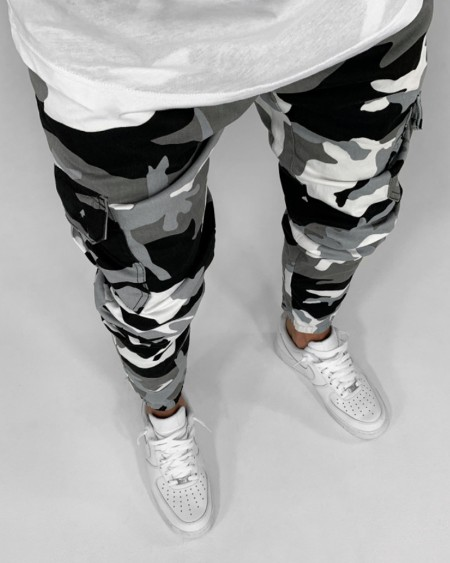 Camouflage Print Cargo Pants With Pockets