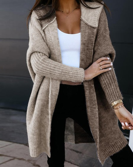 Color Block Batwing Sleeve Open Front Hooded Cardigan