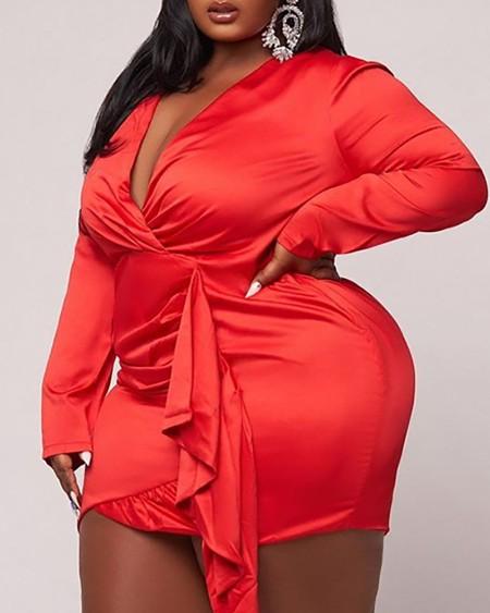 Plus Size Satin Ruffles Wrap Bodycon Dress