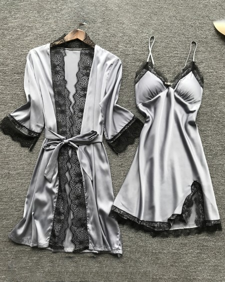 V-neck Lace Trim Satin 4PCS Sleepwear Set