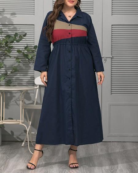 Plus Size Geo Color Block Button Up Work Dress